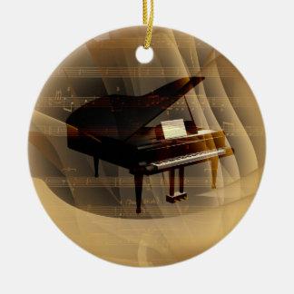 piano adorno navideño redondo de cerámica