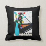 piano and flowers pillow