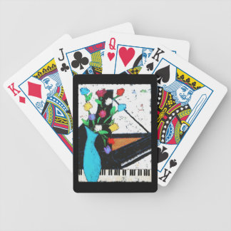 piano and flowers playing cards