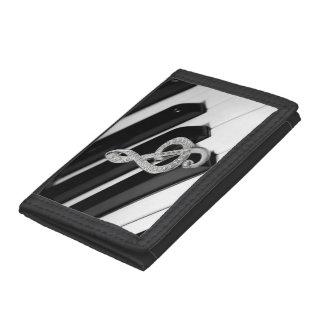 Piano and Gclef design Tri-fold Wallet