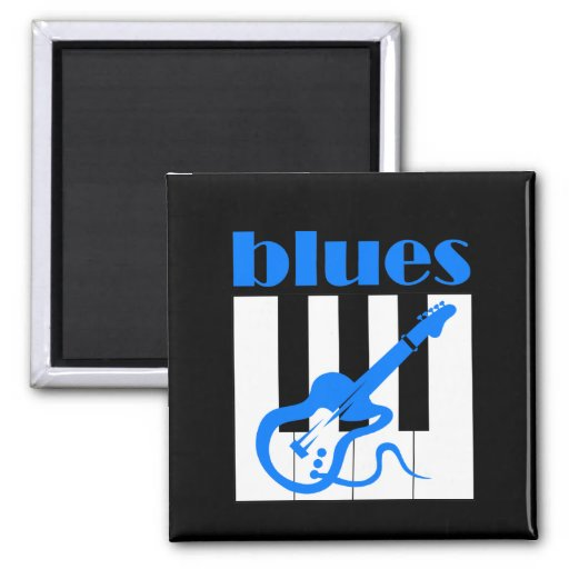 Piano and guitar blues 2 inch square magnet
