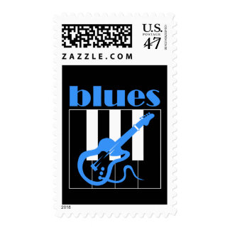 Piano and guitar blues stamp