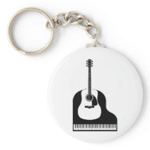Piano and Guitar Keychain