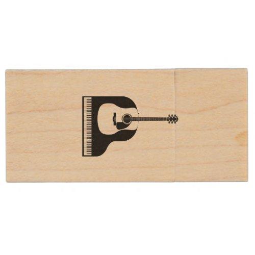 Piano and Guitar Wood Flash Drive