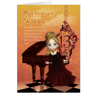 Piano And Music 13th Birthday Card With Cute Young