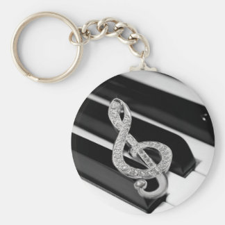 Piano and music Gclef Basic Round Button Keychain