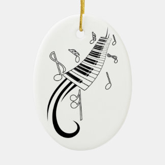 Piano and Music Notes Ceramic Ornament