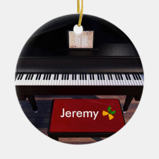 Piano and Red Piano Stool, Christmas template Ceramic Ornament