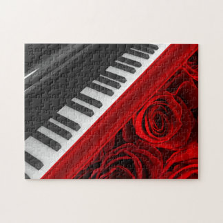 Piano and Roses Jigsaw Puzzle