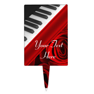 Piano and Roses Personalized Cake Topper