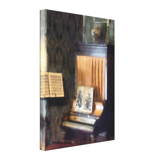 Piano and Sheet Music on Stand Canvas Print