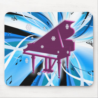 Piano and Snowflakes Mouse Pad