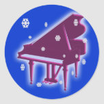 Piano and Snowflakes Round Sticker