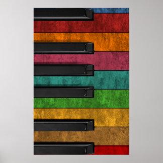 Piano antiguo colorido fresco del efecto del grung impresiones