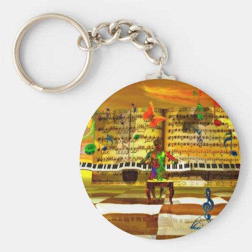 Piano art basic round button keychain