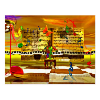 Piano art postcard