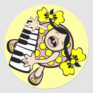 piano baby classic round sticker