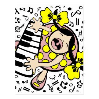 piano baby postcard