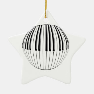 Piano Ball Double-Sided Star Ceramic Christmas Ornament