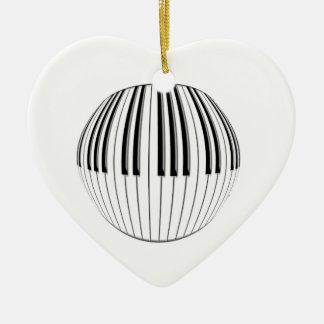 Piano Ball Double-Sided Heart Ceramic Christmas Ornament