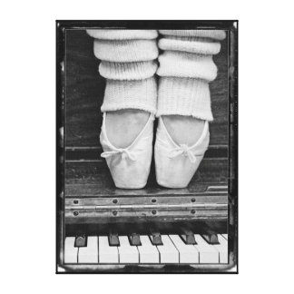 Piano Ballet Duet black and white medium sized Canvas Print