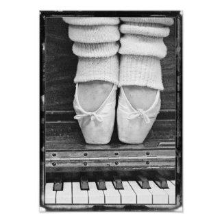 Piano Ballet Duet black and white medium sized Photo Print