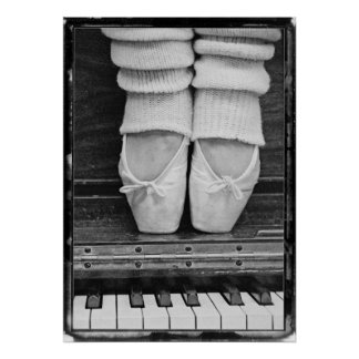 Piano Ballet Duet black and white medium sized Poster