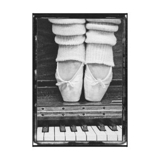 Piano Ballet Duet black and white small sized Canvas Print