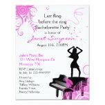 """Piano Bar Bachelorette Party Invitation 4.25"""" X 5.5"""" Invitation Card"""