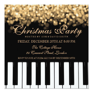 Piano Bar Christmas Party Gold Lights Card