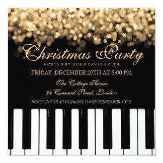 Piano Bar Christmas Party Gold Lights Invitation