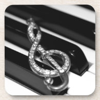 Piano Bar with G-clef Drink Coaster