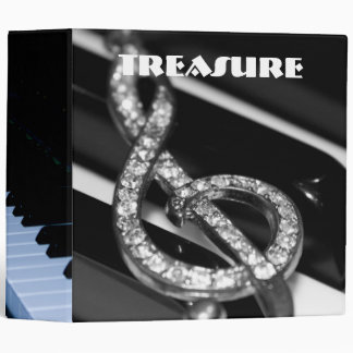 """Piano Bar with gclef  2""""8 3 Ring Binder"""