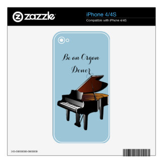Piano Be an Organ Donor Decal For iPhone 4