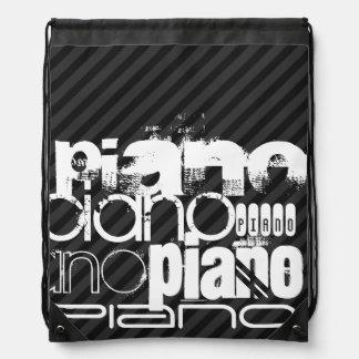 Piano; Black & Dark Gray Stripes Drawstring Bag