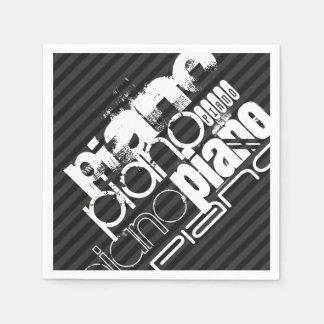 Piano; Black & Dark Gray Stripes Napkin