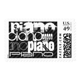 Piano; Black & Dark Gray Stripes Postage