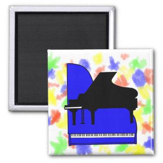 Piano Black Sillouette Blue Top View 2 Inch Square Magnet