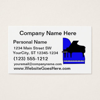 Piano Black Sillouette Blue Top View Business Card