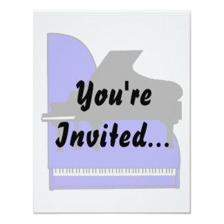 """Piano Black Sillouette Blue Top View 4.25"""" X 5.5"""" Invitation Card"""