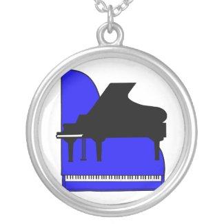 Piano Black Sillouette Blue Top View necklace