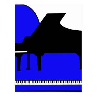 Piano Black Sillouette Blue Top View Postcards