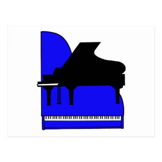 Piano Black Sillouette Blue Top View Postcard