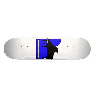 Piano Black Sillouette Blue Top View Skateboard Deck