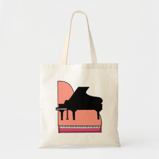 Piano Black Sillouette Pink Top View Budget Tote Bag