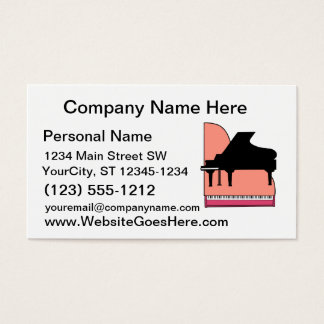 Piano Black Sillouette Pink Top View Business Card
