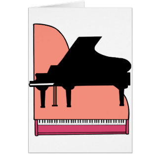 Piano Black Sillouette Pink Top View Card