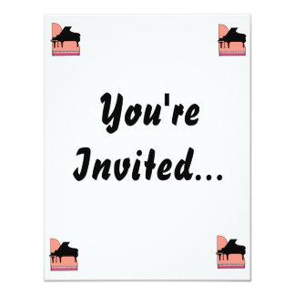 """Piano Black Sillouette Pink Top View 4.25"""" X 5.5"""" Invitation Card"""