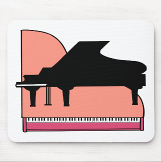Piano Black Sillouette Pink Top View Mouse Pad