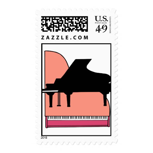 Piano Black Sillouette Pink Top View Postage